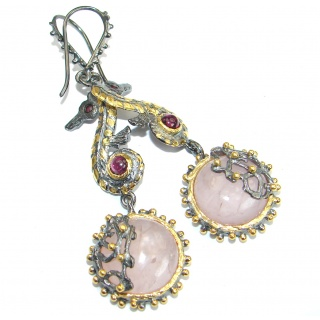Enchanted Garden genuine Rose Quartz 14K Gold over .925 Sterling Silver handmade earrings