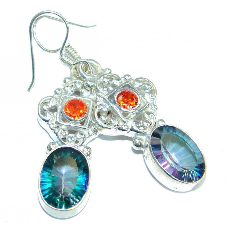 Mystical Eye! Rainbow Magic Topaz .925 Sterling Silver earrings