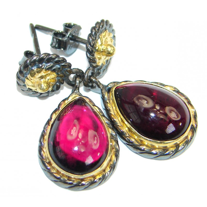 Authentic Garnet 14K Gold Rhodium over .925 Sterling Silver handmade earrings