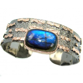 Modern Concept Labradorite 18ct Rose Gold plated over .925 Sterling Silver handmade Bracelet / Cuff