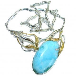Nature inspired Sublime Larimar two tones .925 Sterling Silver handmade necklace