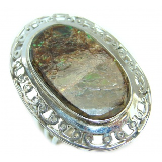Large Genuine Canadian Ammolite .925 Sterling Silver handmade ring s. 10