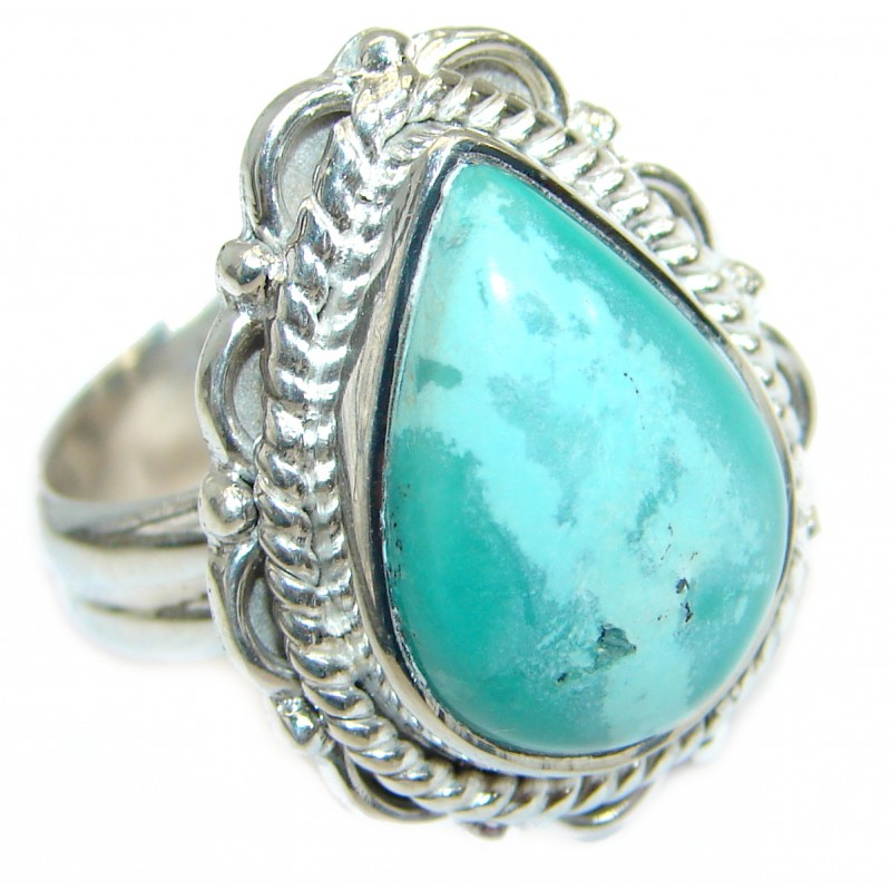 Green Turquoise .925 Sterling Silver handmade Ring s. 8 1/4