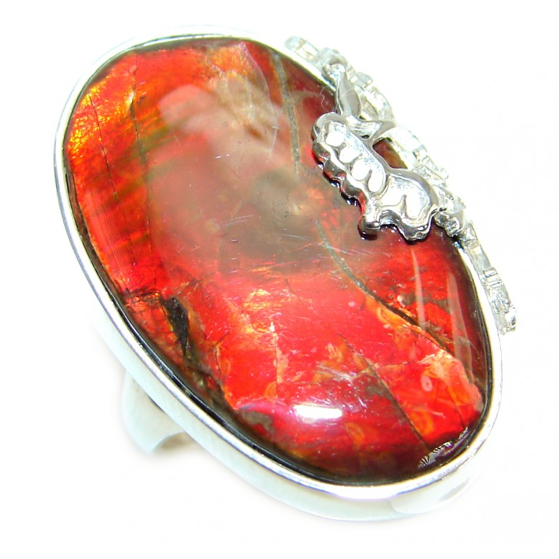 Pure Energy Genuine Canadian Ammolite .925 Sterling Silver handmade ring size 6 1/4