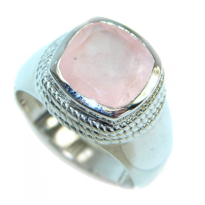 Best Quality Rose Quartz .925 Sterling Silver ring s. 8