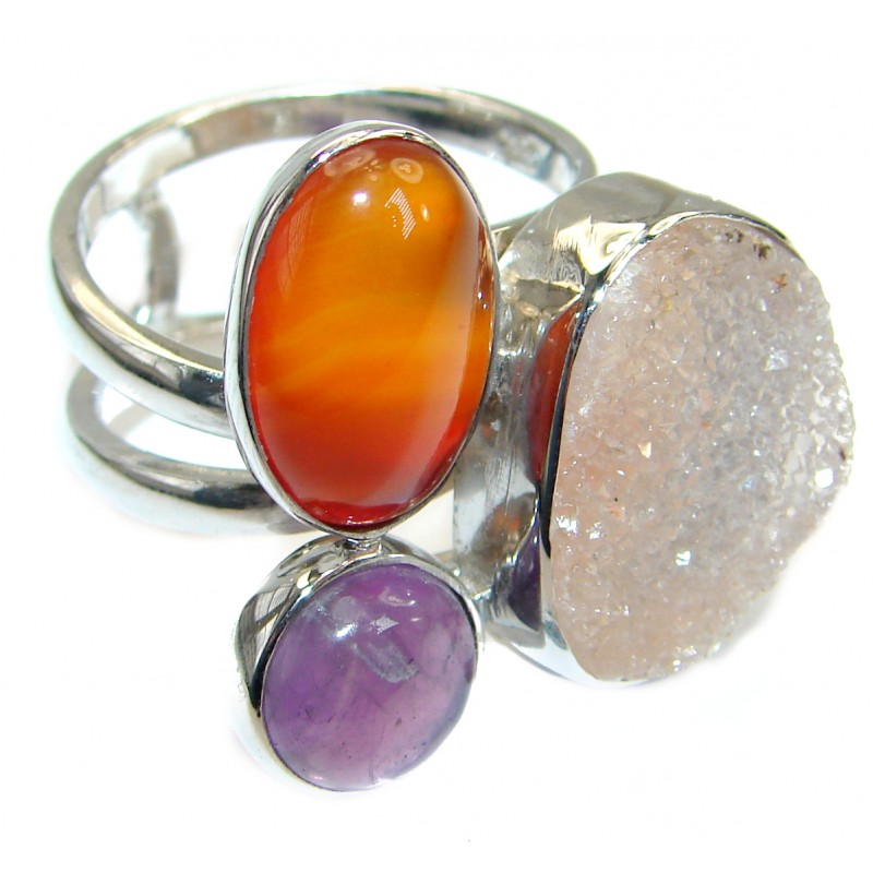 Exotic Druzy Agate .925 Silver Ring s. 8 adjustable