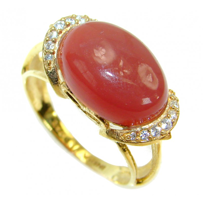 Genuine Carnelian 14K Rose Gold over .925 Sterling Silver handmade Ring Size 8