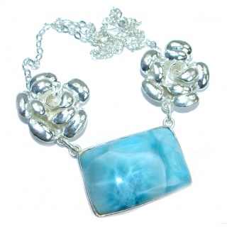 Beautiful Wild Flowers genuine Larimar .925 Sterling Silver handmade necklace