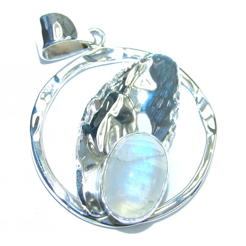 Fire Moonstone hammered .925 Sterling Silver handmade Pendant