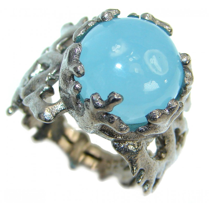 Passiom Fruit Natural 48.5 ct. Aquamarine Rhodium over Sterling Silver Ring s. 7