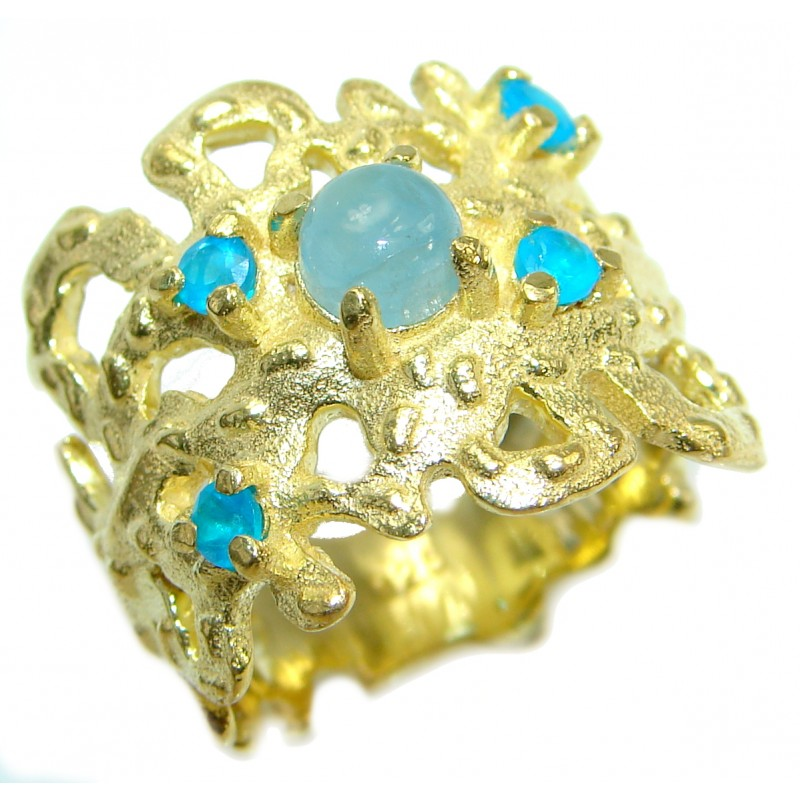 Passiom Fruit Natural Aquamarine 14K Gold over .925 Sterling Silver Ring s. 6