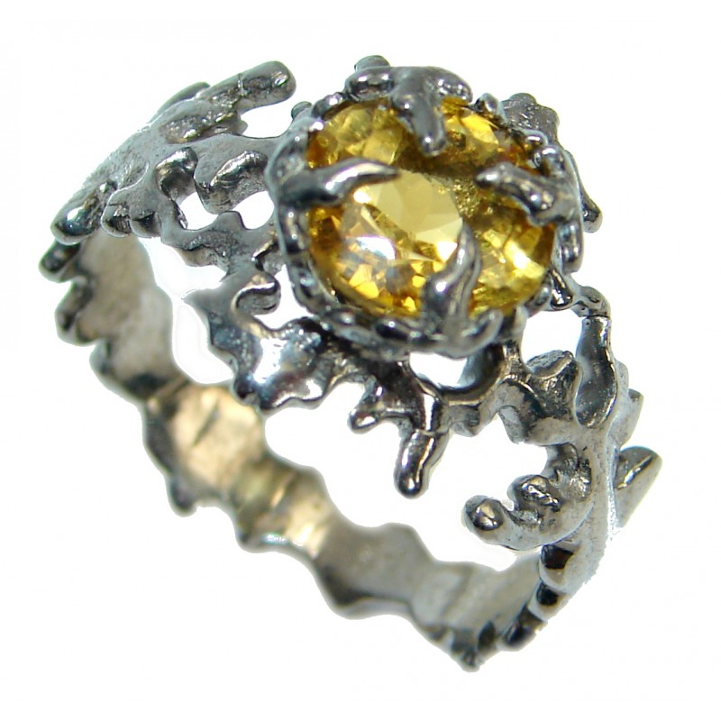 Dramatic Design genuine Citrine .925 Sterling Silver handmade Cocktail Ring s. 8 1/2
