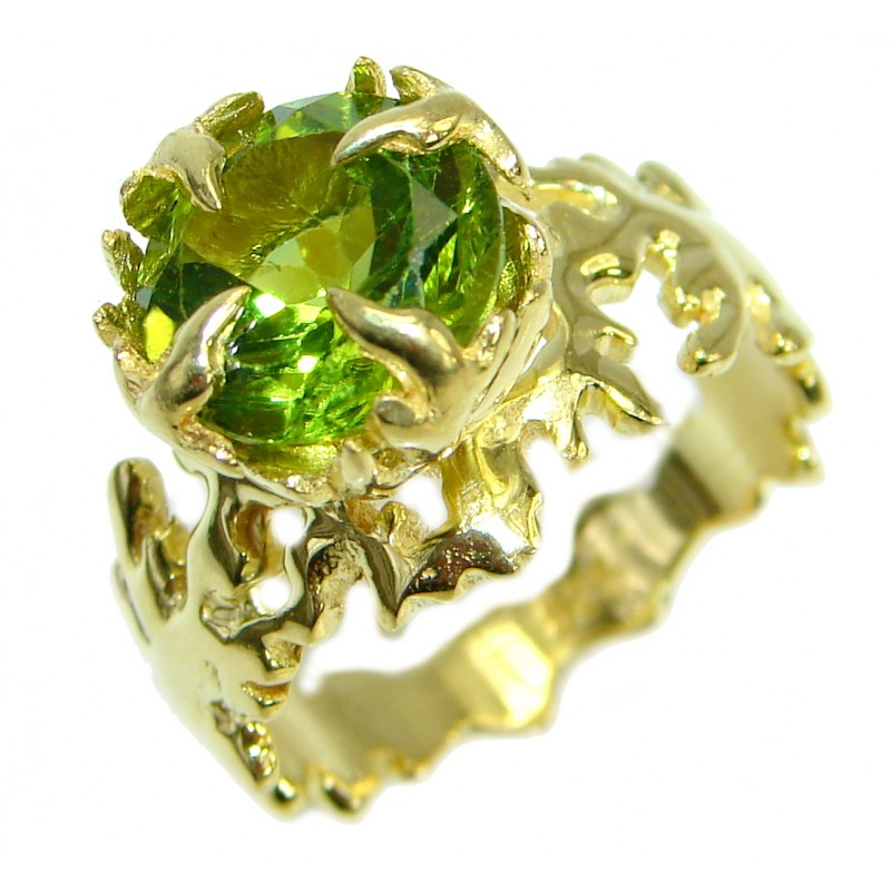 Dramatic Design genuine Peridot 14K Gold over .925 Sterling Silver handmade Cocktail Ring s. 8