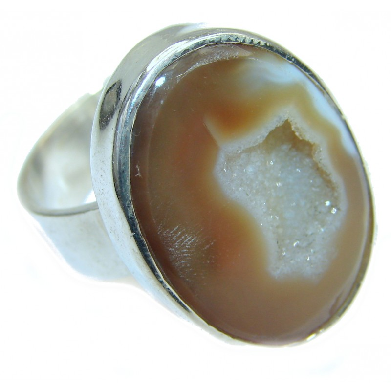 Exotic Druzy Agate .925 Silver Ring s. 12