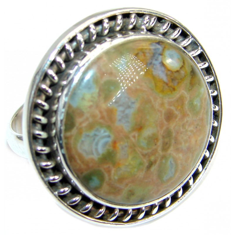 Excellent Rainforest Jasper .925 Sterling Silver Ring s. 8