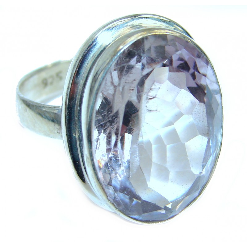 Classy Pink Topaz .925 Silver Ring s. 8