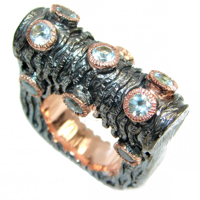Huge Energazing Swiss Blue Topaz Rose Gold over .925 Sterling Silver handmade Ring size 8