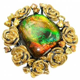 Large Genuine Canadian Ammolite Rose Gold over .925 Sterling Silver handmade ring s. 7 adjustable