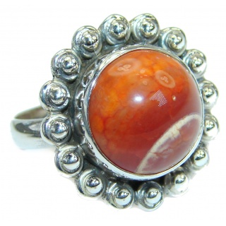 Mexican Agate .925 Silver handcrafted Ring s. 7