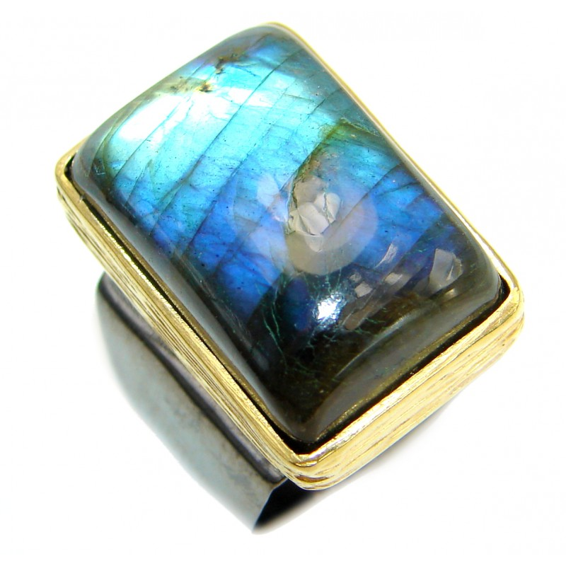 Huge Fire Labradorite .925 Sterling Silver handmade ring size 6 1/2