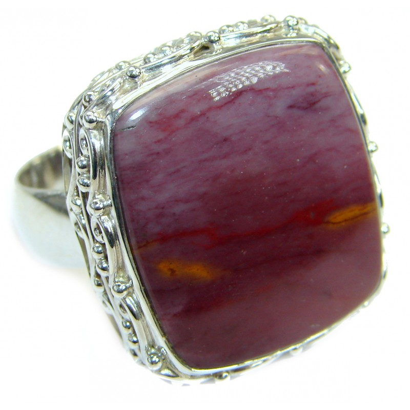 Huge Flawless Australian Mookaite .925 Sterling Silver handcrafted Ring size 12