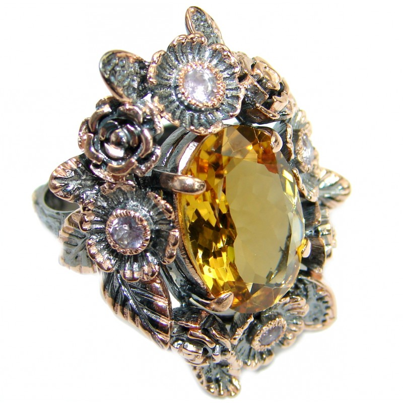 Vintage Style 45 CT Citrine .925 Sterling Silver handmade Cocktail Ring s. 7 1/4