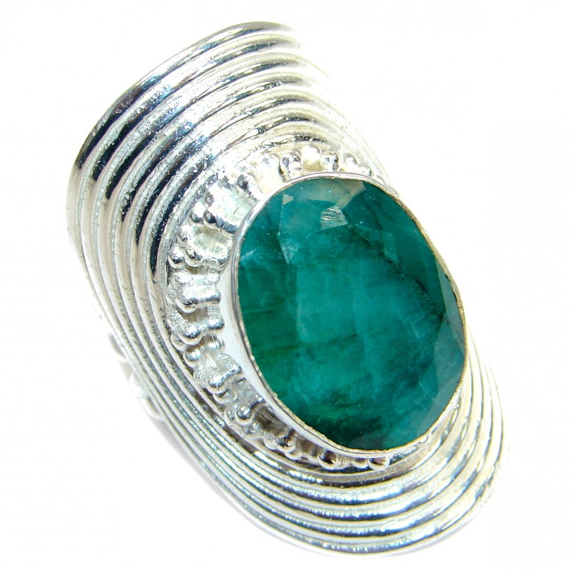 Great lab. Emerald Silver Tone ring; s. 8 3/4