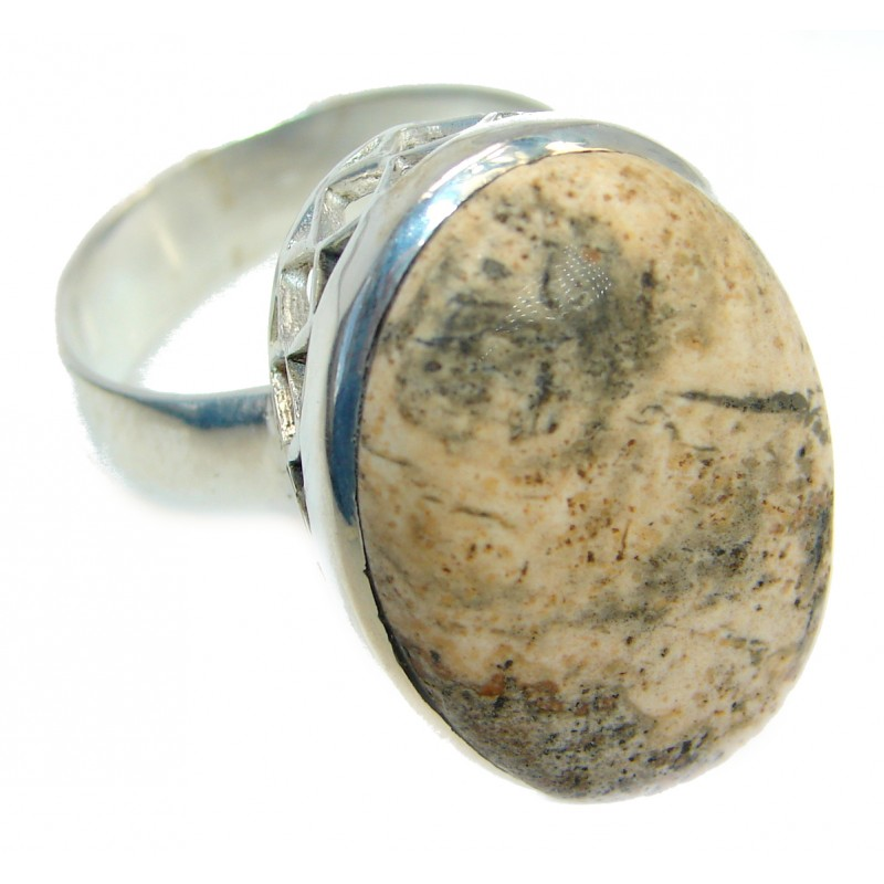 Natural Picture Jasper Silver Tone Ring s. 11