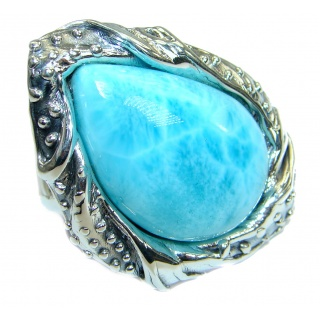 Ocean Waves Larimar .925 Sterling Silver handcrafted ring size 7 adjustable
