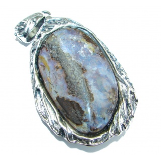 Huge Authentic Australian Boulder Opal .925 Sterling Silver handmade Pendant