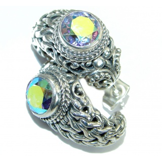Bali Design White Opal Quartz .925 Sterling Silver handmade earrings