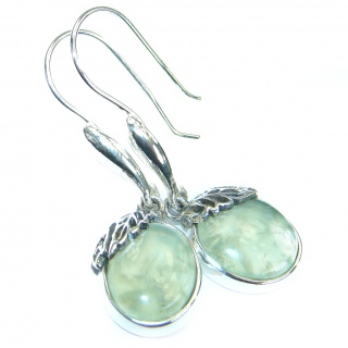 Juicy Authentic Moss Prehnite .925 Sterling Silver handmade earrings