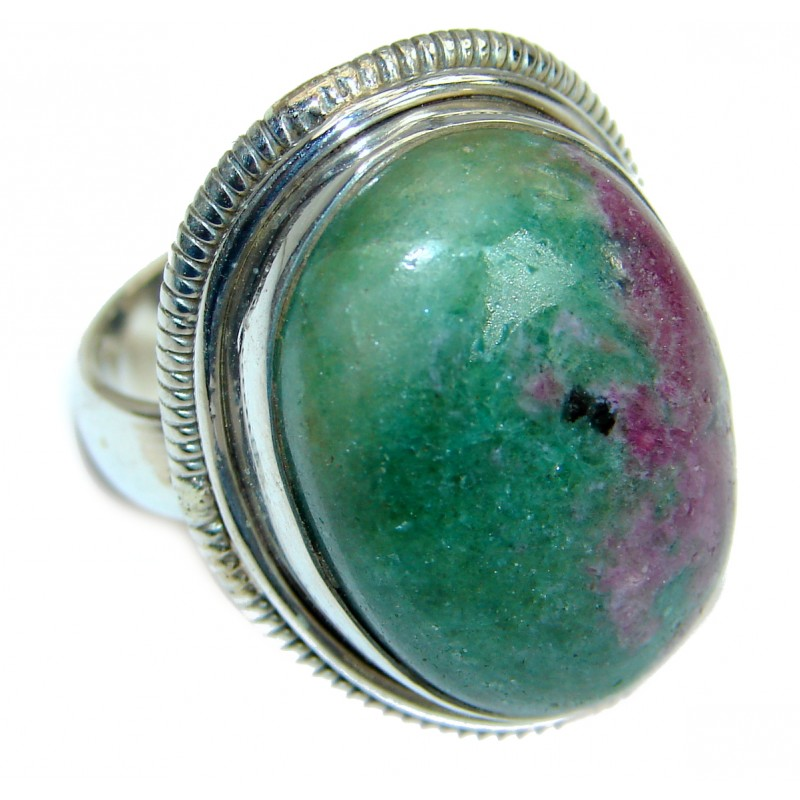 Ruby in Zoisite .925 Sterling Silver handmade Cocktail Ring s. 6 1/4
