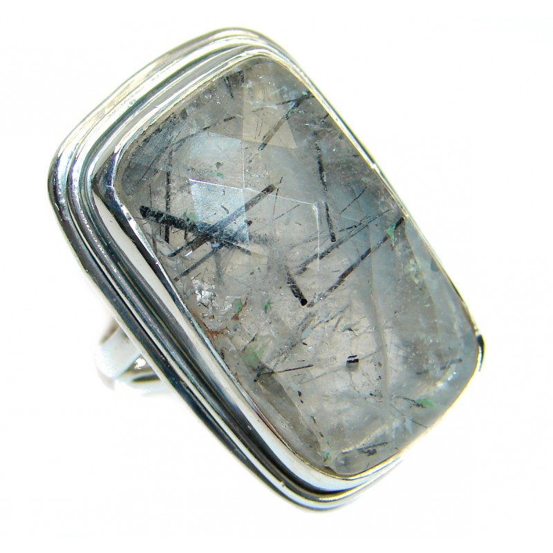 Simply Perfect genuine Tourmalinated quartz Sterling Silver Ring s. 6