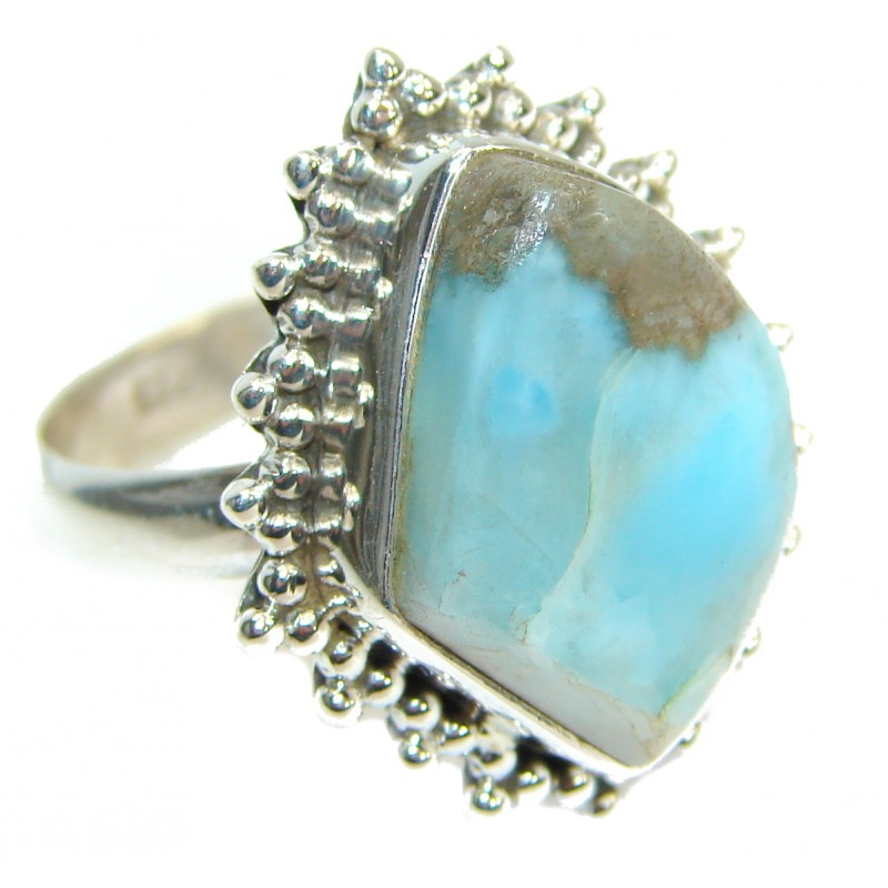 Natural Larimar .925 Sterling Silver Ring s. 9 3/4
