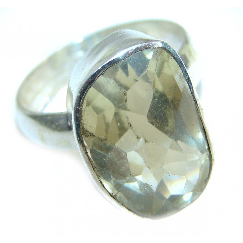 Genuine Citrine .925 Sterling Silver Cocktail Ring size 8 3/4