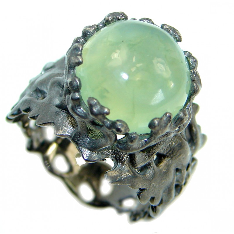 Ocean Inspired Prehnite Rhodium over .925 Sterling Silver handmade Cocktail Ring s. 7 1/2