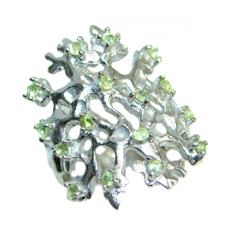 Energazing Peridot Rhodium over .925 Sterling Silver Ring size 8