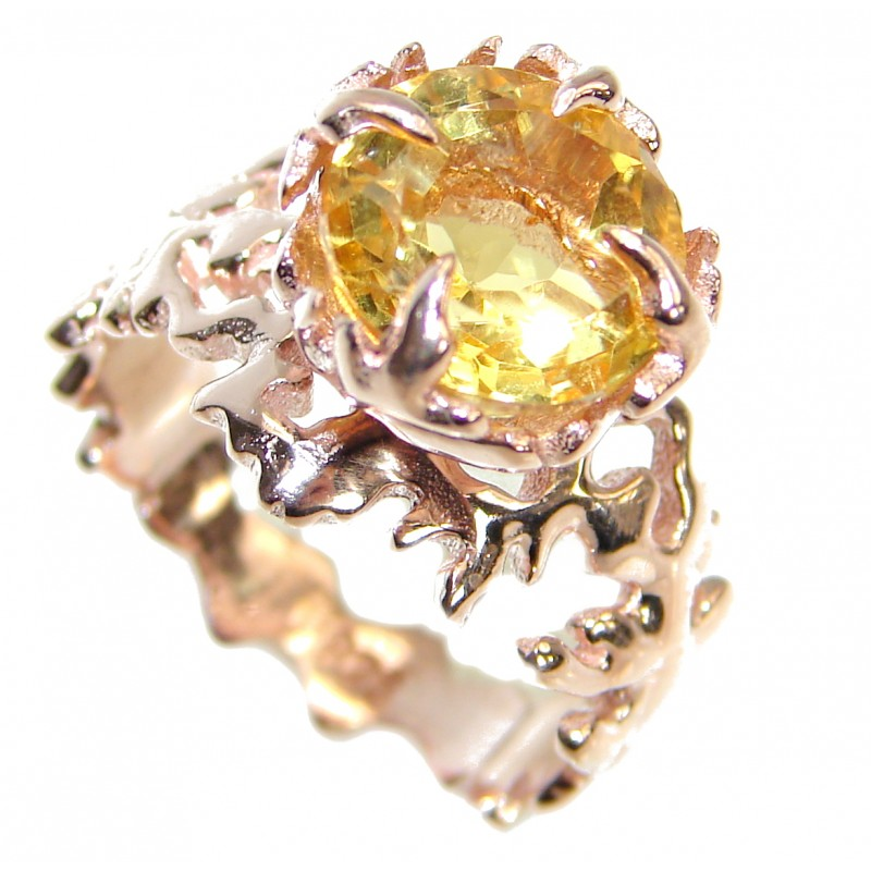 Ocean inspired Natural 16.5 ct. Citrine Gold over .925 Sterling Silver Ring s. 7
