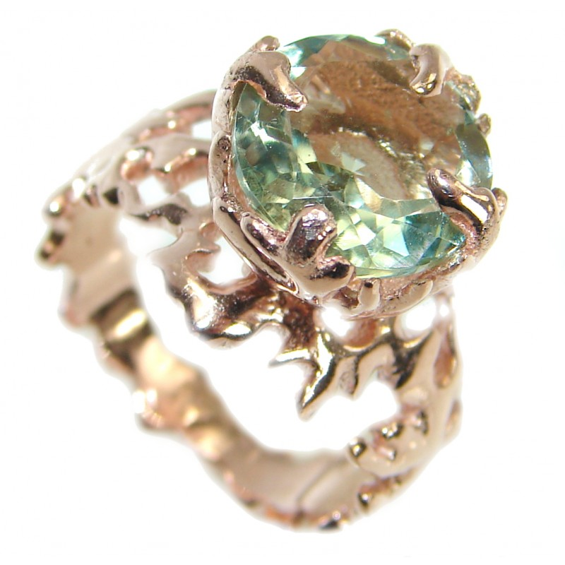 Ocean inspired Natural 21 ct. Green Amethyst .925 Sterling Silver Ring s. 6