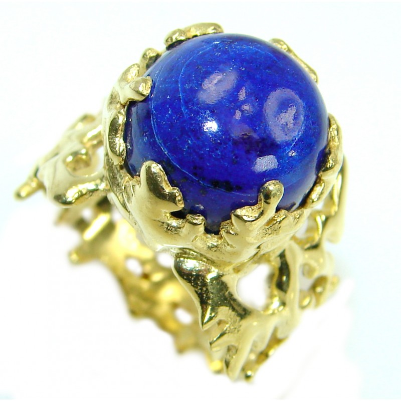 Ocean Inspired Lapis Lazuli 14K Gold over .925 Sterling Silver handmade Cocktail Ring s. 7