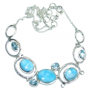 Open Ocean genuine Larimar .925 Sterling Silver handmade necklace