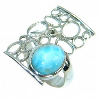 Enchanted Island Larimar .925 Sterling Silver handcrafted Ring s. 8
