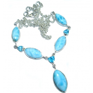 Sublime genuine Larimar Swiss Blue Topaz .925 Sterling Silver handmade necklace