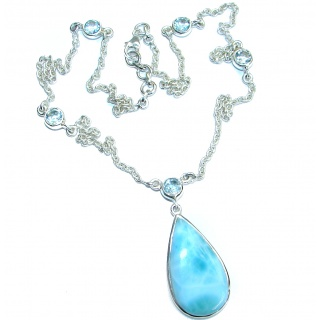 Sublime Beauty genuine Larimar .925 Sterling Silver handmade necklace