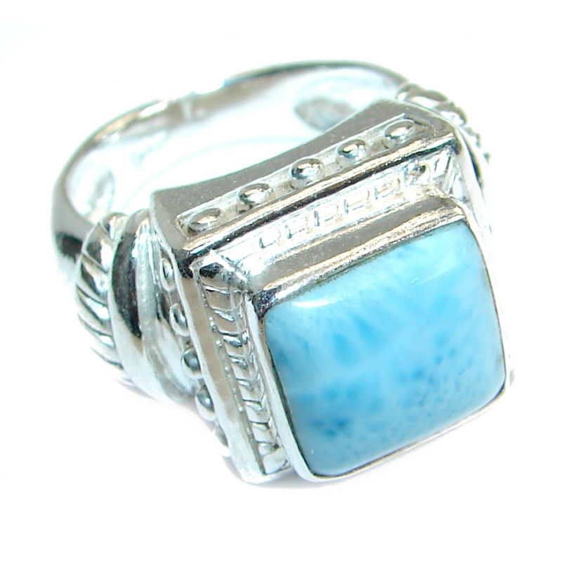 Bold Natural Larimar .925 Sterling Silver handcrafted Ring s. 6