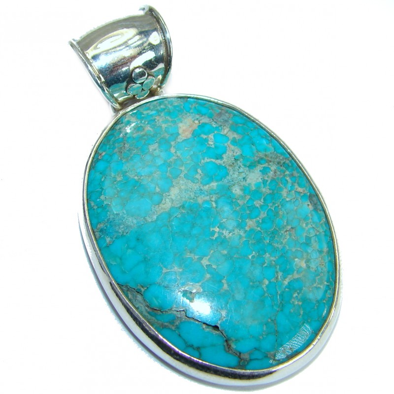 Vintage Style genuine Turquoise .925 Sterling Silver handmade Pendant