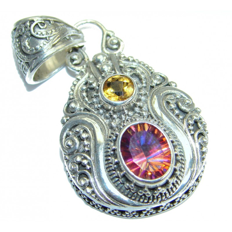 Vintage Design Pink Rainbow Magic Topaz .925 Sterling Silver Pendant