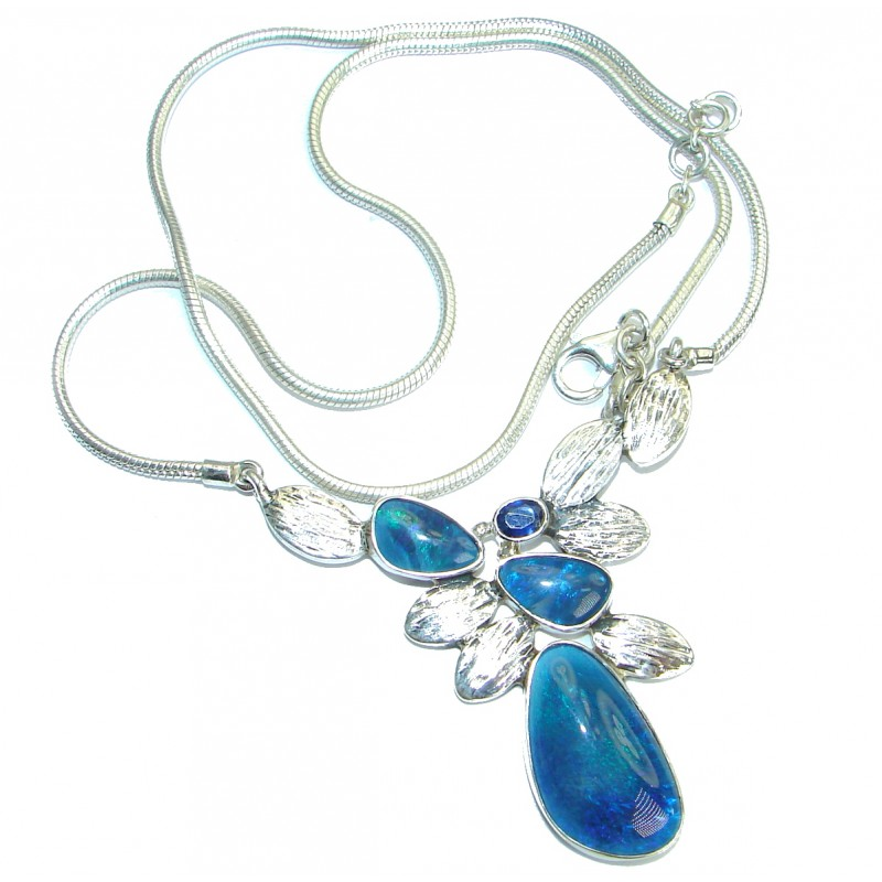 Spectacular Rustic Style Doublet Fire Opal .925 Sterling Silver brilliantly handcrafted necklace
