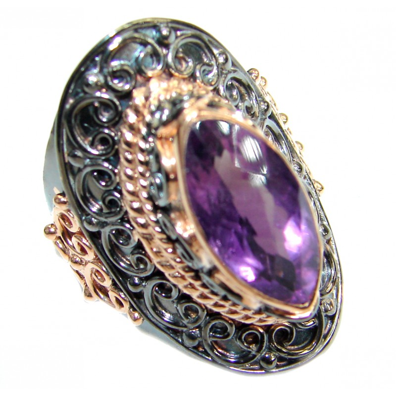 Passiom Natural 25.5 ct. Amethyst Gold over .925 Sterling Silver Ring s. 8 1/4